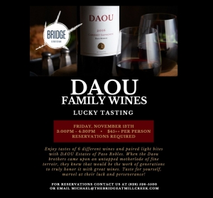 Wine Tasting Nov 13th Friday Daou Wines